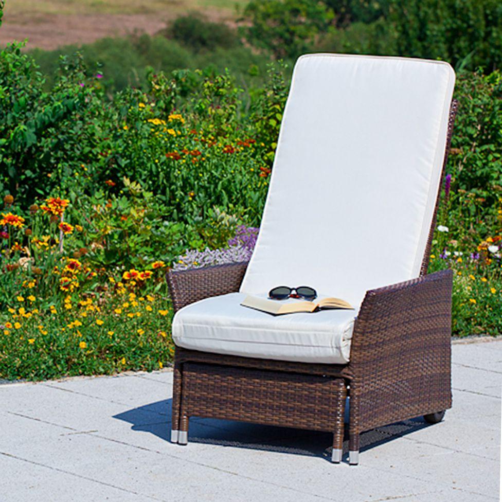 liegestuhl komfort inkl auflage polyrattan polyester braun cremeweiss günstig edles Design