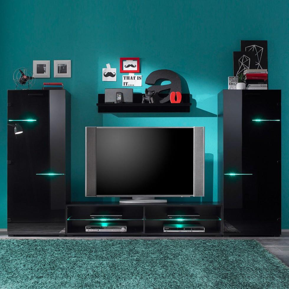 wohnwand blackbox 4-teilig inklusive beleuchtung hochglanz schwarz schnäppchen günstig modernes desig