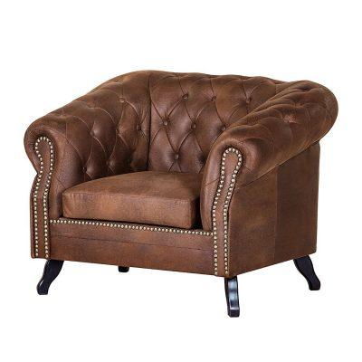 schnäppchen sessel benavente im chesterfield-look in braun antikleder-optik von maison belfort