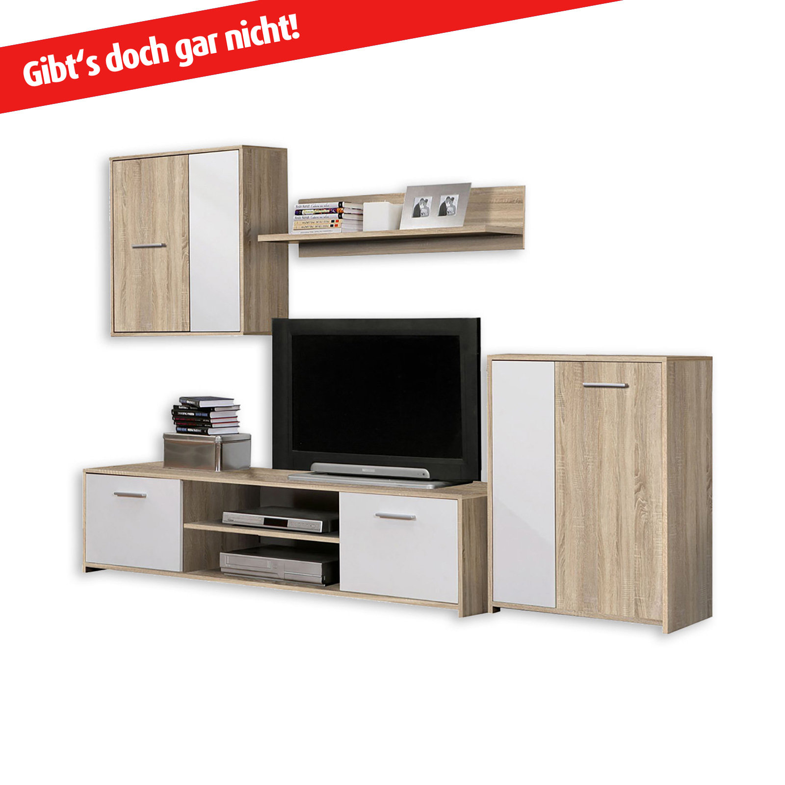 wohnwand paco in sonoma eiche von roller nur 99 99 cherry m bel roller. Black Bedroom Furniture Sets. Home Design Ideas