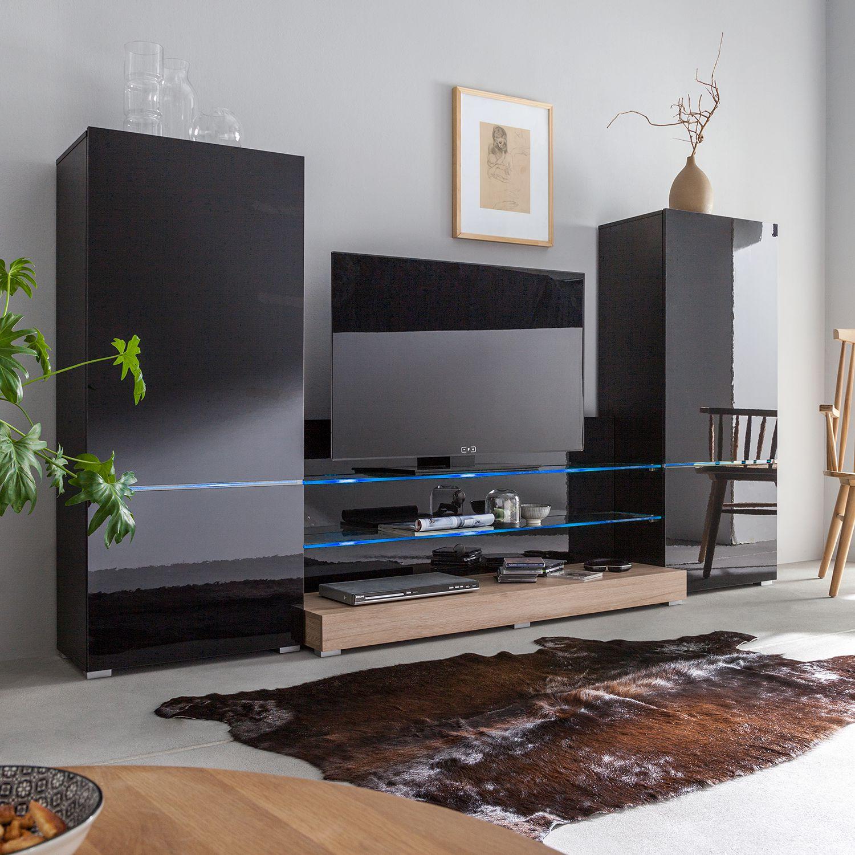wohnwand modern art von roomscape in schwarz hochglanz eiche san remo dekor zum schnäppchenpreis mit led beleuchtung