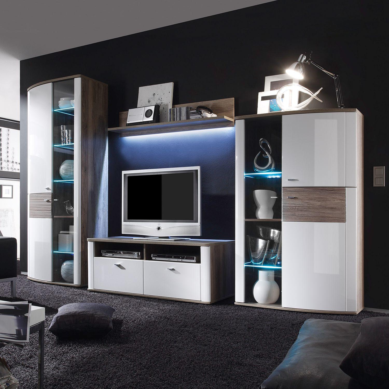 wohnwand beethoven von modoform in weiß hochglanz mit eiche sanremo dekor zum schnäppchenpreis bestehend aus 4 elementen