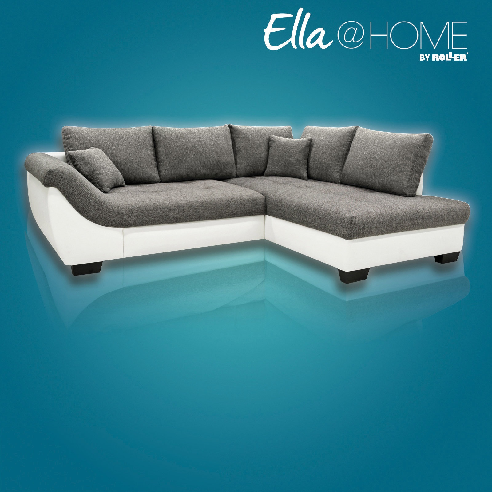 16 sparen ecksofa nizza von ella home in wei anthrazit mit bettfunktion nur 499 99. Black Bedroom Furniture Sets. Home Design Ideas