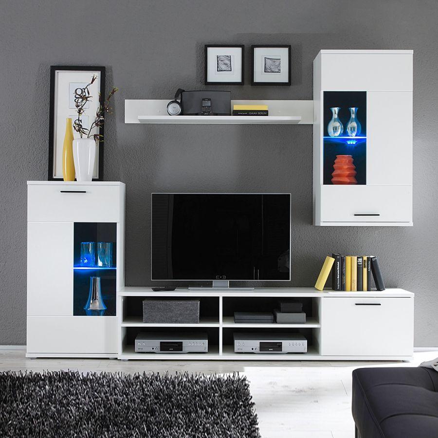 wohnwand borna 4 teilig in weiß mit integrierter beleuchtung von mooved zum schnäppchenpreis