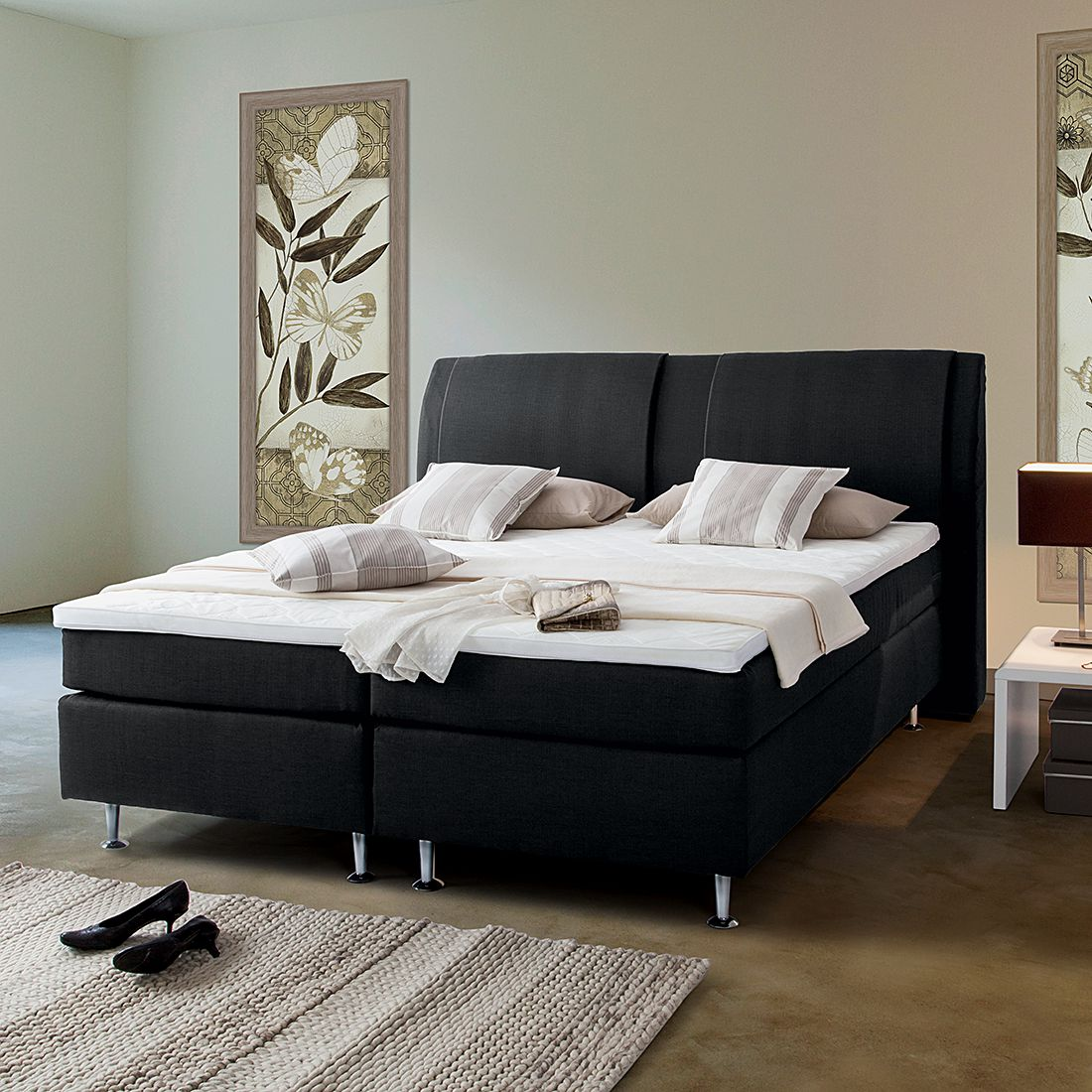 25 sparen boxspringbett bjane ab 599 99 cherry m bel home24. Black Bedroom Furniture Sets. Home Design Ideas