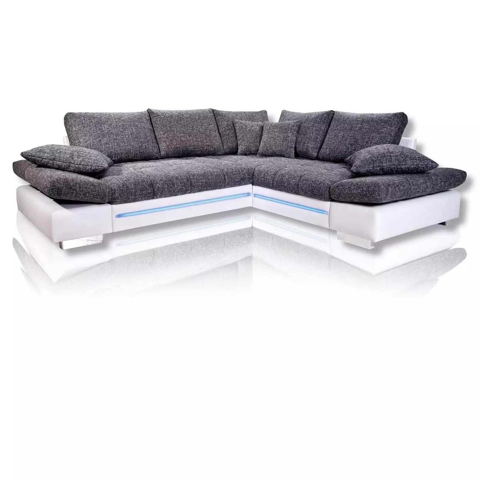 40% sparen - Ecksofa weiß-silber mit LED von ROLLER - nur ...