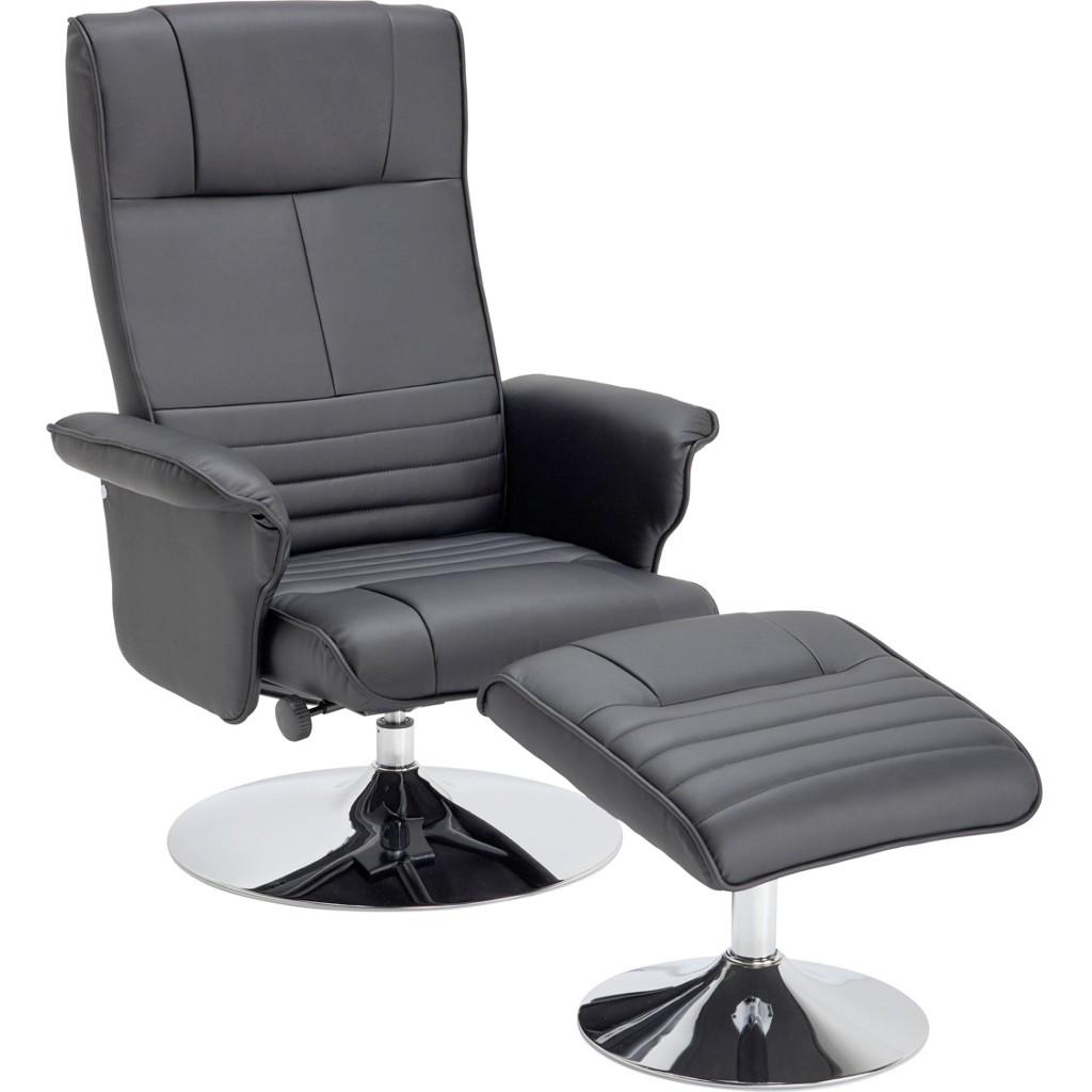 relaxsessel von cantus mit lederlook in chromfarben, schwarz zum schnäppchenpreis