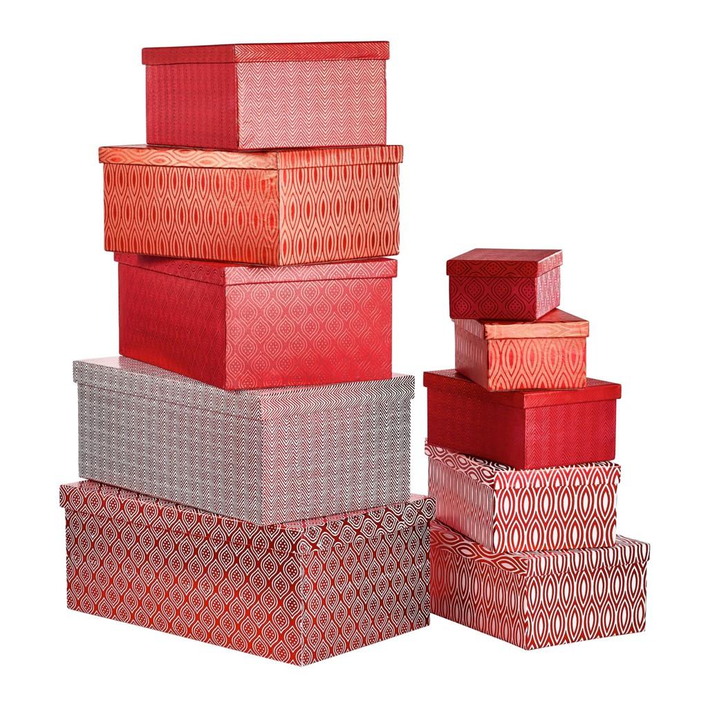 Geschenkboxen-.Set 10-teilig ovn xxxl in rot zum schnäppchenpreis
