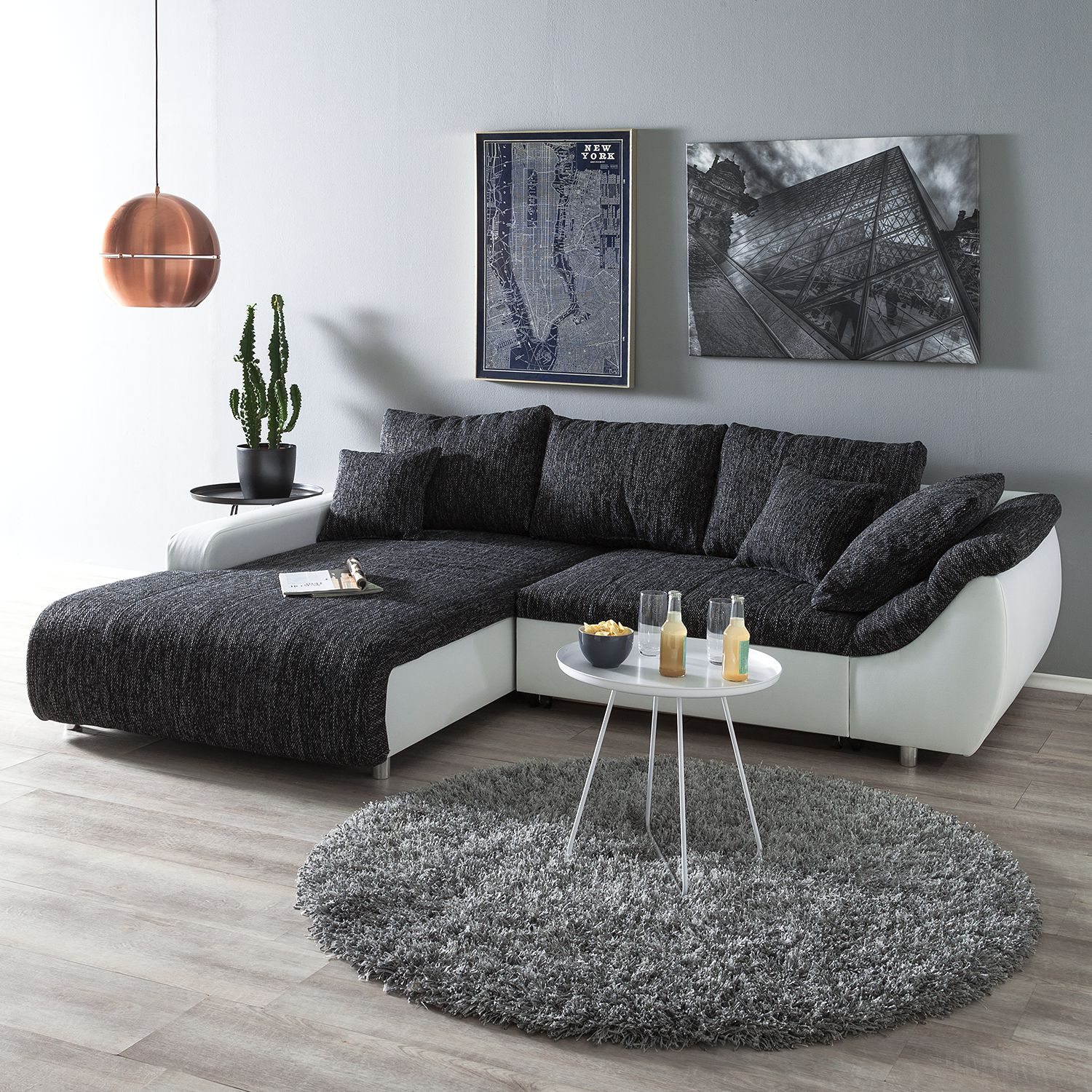 10 sparen ecksofa mable in grau wei nur 899 99 cherry m bel home24. Black Bedroom Furniture Sets. Home Design Ideas