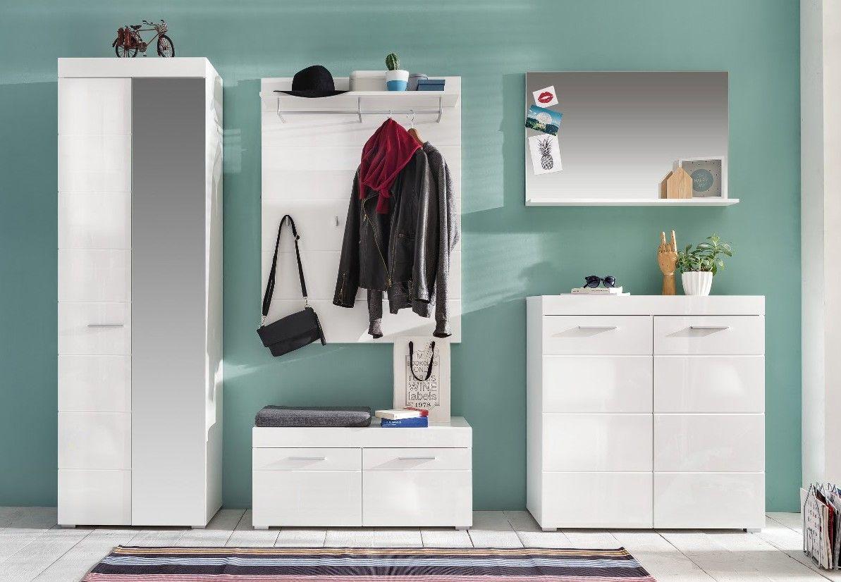 14 sparen garderobe hochglanz wei von woody nur 704 for Garderobe 90
