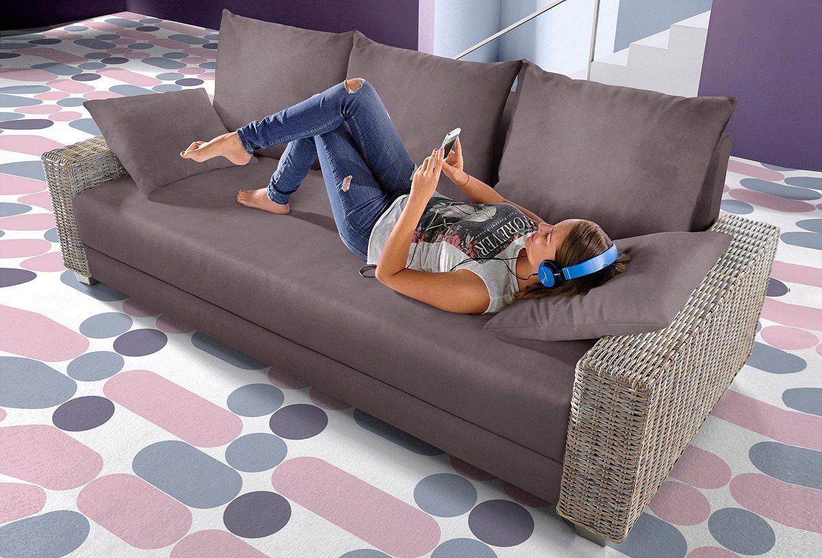 50 sparen inosign schlafsofa mit rattan armteilen ab 449 99 cherry m bel schwab. Black Bedroom Furniture Sets. Home Design Ideas