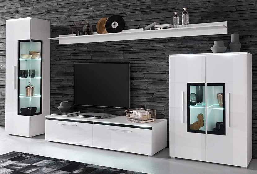 33 sparen 5 teilige wohnwand nur 399 99 cherry. Black Bedroom Furniture Sets. Home Design Ideas