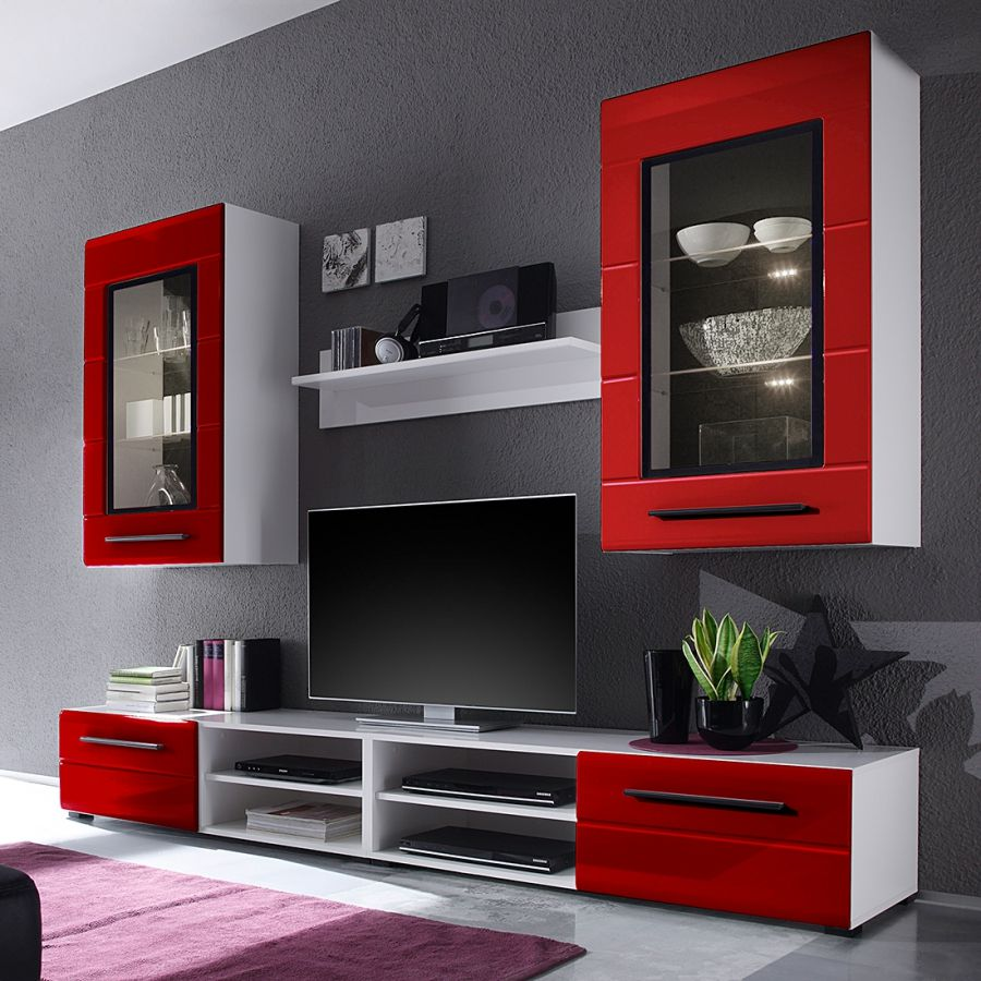 Wohnwand motlex von fredriks in hochglanz rot-weiß zum schnäppchenpreis