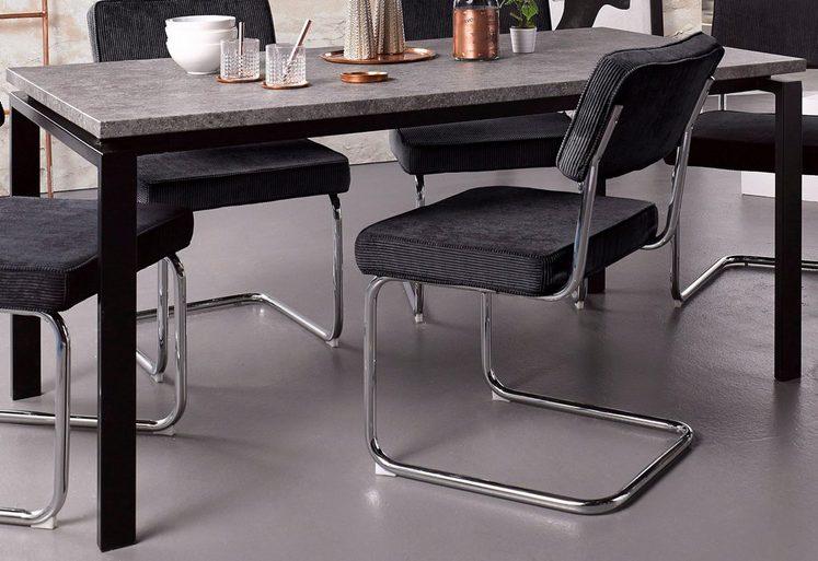 esstisch mit metallgestell esstisch nalca in cremefarben. Black Bedroom Furniture Sets. Home Design Ideas