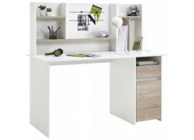 Schreibtisch weiß/Sonoma Eiche Nachbildung ca. 135 x 130 x 55 cm