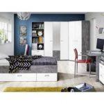 25% sparen – Kleiderschrank EMILY Beton-Optik lichtgrau/weiß matt – nur 149,99€