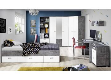 Kleiderschrank EMILY Beton-Optik lichtgrau/weiß matt