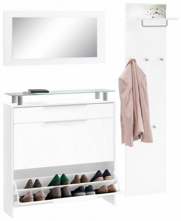 BORCHARDT Möbel Garderoben-Set OLIVA (3-tlg.) - hängender Schuhschrank, mit Glasablage
