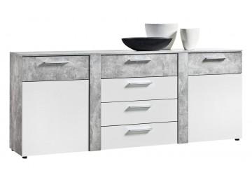 Sideboard NEAPEL Beton Optik/ Hochglanz weiß ca. 200 cm